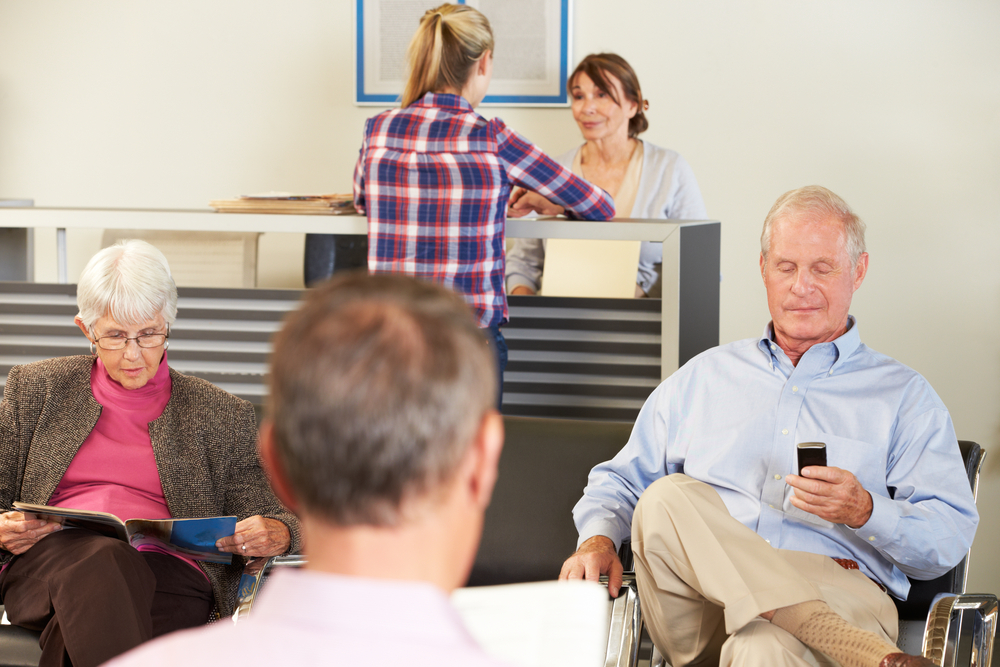 Patients in dental office waiting area